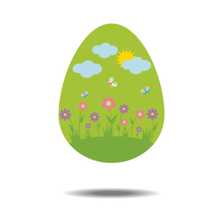 paschal: Easter Egg Icon on the white background. illustration