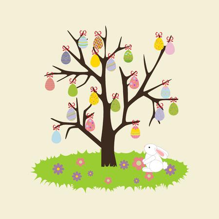 Easter Egg Tree. Rabbit, bunny. Flower. illustration
