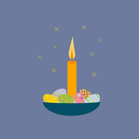 grass weave: Easter egg basket. Easter candle. illustration Illustration