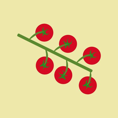 cherry tomato: Cherry Tomato Icon isolated on a yellow background. Vector illustration Illustration