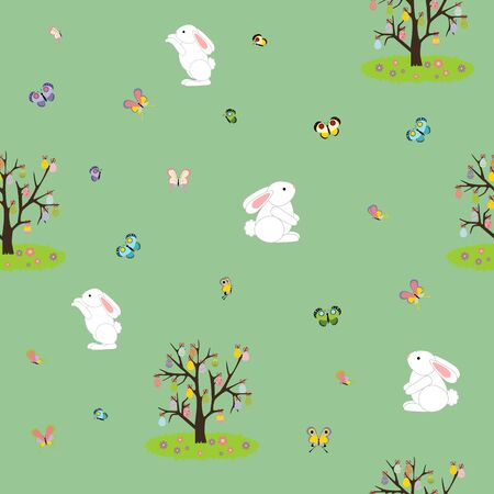 easter tree: Easter Seamless background. Easter Rabbit. Easter Tree with eggs. Vector illustration