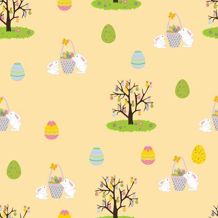 arbol de pascua: De fondo sin fisuras de Pascua. Conejo de Pascua. Árbol de Pascua con los huevos. ilustración vectorial