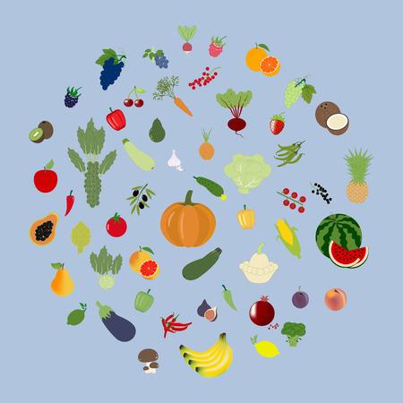 Conjunto vegetal de la fruta aislada en un fondo púrpura. ilustración vectorial Foto de archivo - 53932408