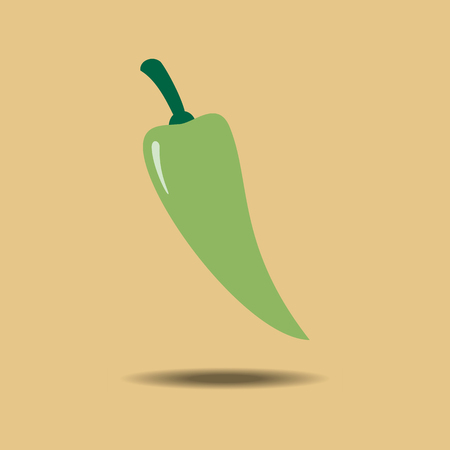 jalapeno: Green Jalapeno Vegetable icon isolated on a yellow background. Vector illustration