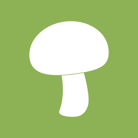 champignon: Mushroom champignon icon on a green background. Silhouette. Vector illustration