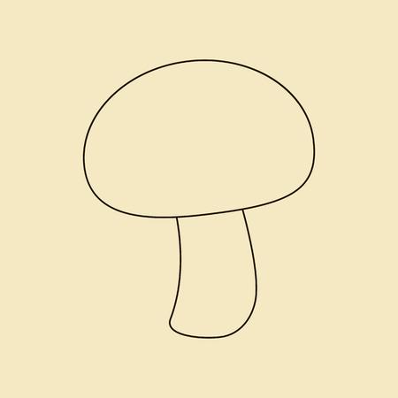 champignon: Mushroom champignon icon on a yellow background. Vector illustration