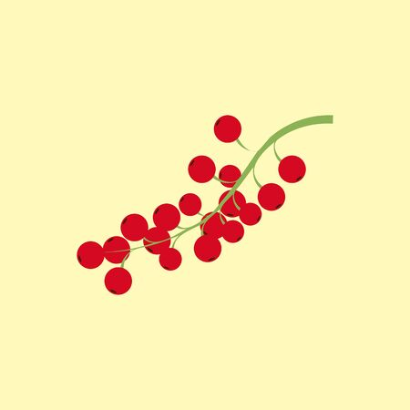 Red currant berry icon isolated on a yellow background. Vector illustration