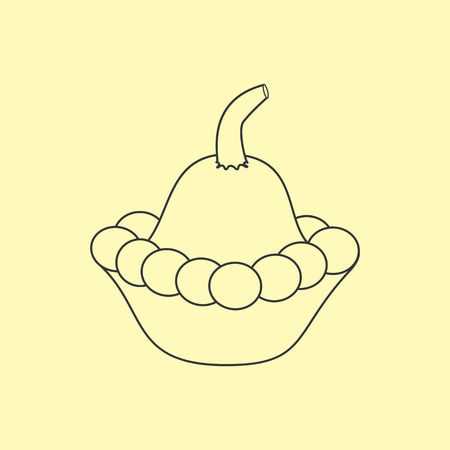 squash: Squash Vegetable Icon on a yellow background. Vector illustration