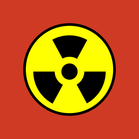 reactor: Nuclear danger icon on the red background. Vector illustration