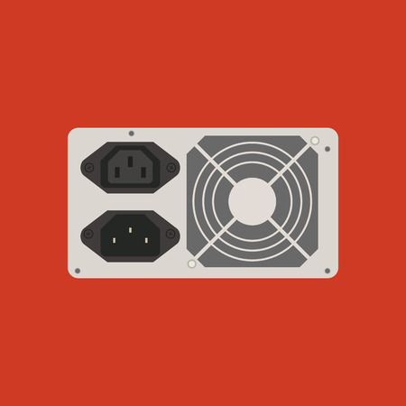 Power supply icon on the red background. Vector illustration Illustration