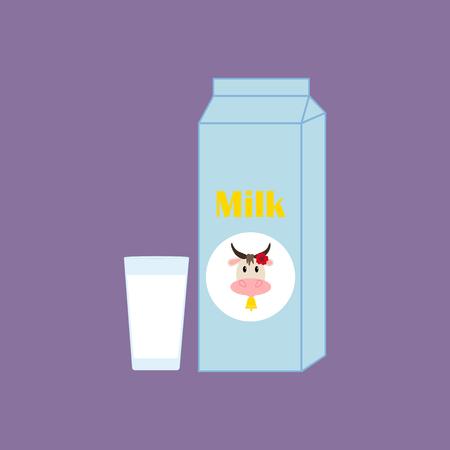 carton de leche: Caja de cartón con leche. Vaso de leche. ilustración vectorial