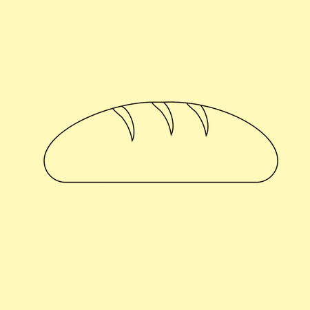 loaf: Bread Loaf Icon on the yellow background. Vector illustration Illustration