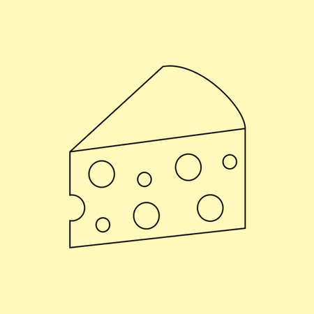 parmesan: Piece of cheese on yellow background. Vector illustration