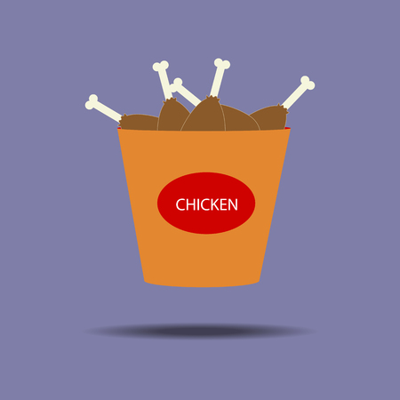 fried chicken wings: Bucket of chicken legs icon. Fried chicken. Snack. Fast food. Vector illustration