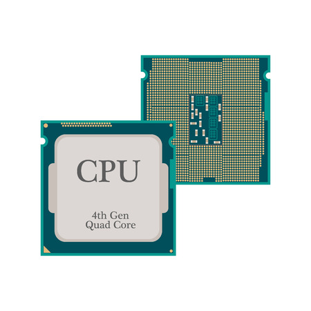 drawing board: CPU Processor icon on the white background. Vector illustration