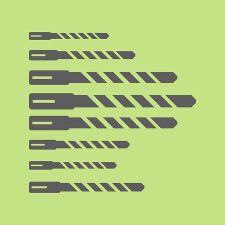 Juego de brocas de martillo de acero. Diferentes formas. ilustración vectorial