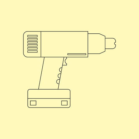 cordless: Electric drill. Cordless battery construction hand drill tool illustration isolated on yellow background. Vector illustration