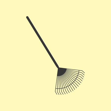 rakes: Garden tools. Garden Rakes on the yellow. Vector illustration