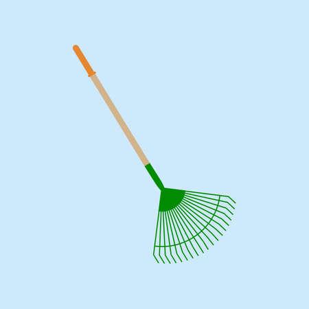 rakes: Garden tools. Garden Rakes on the blue. Vector illustration