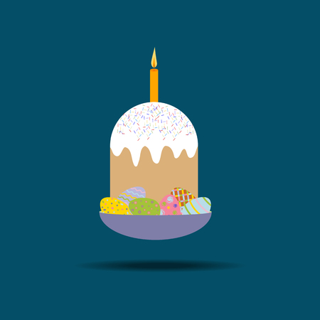 easter cake: Easter Cake Icon on the blue background. Vector illustration Illustration