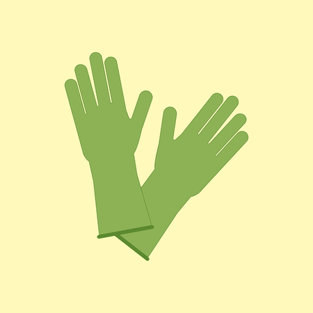 rubber glove: Latex Rubber Gloves on the yellow background. Vector illustration Illustration