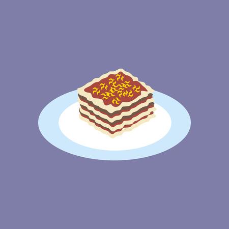 Lasagna Food Icon on the purple background. Vector illustration