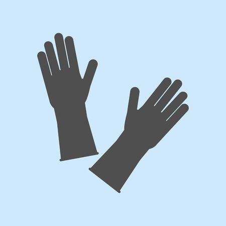 dish washing gloves: Latex Rubber Gloves on the blue background. Vector illustration