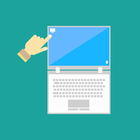 typing: Notebook computer icon on the blue background. Vector illustration