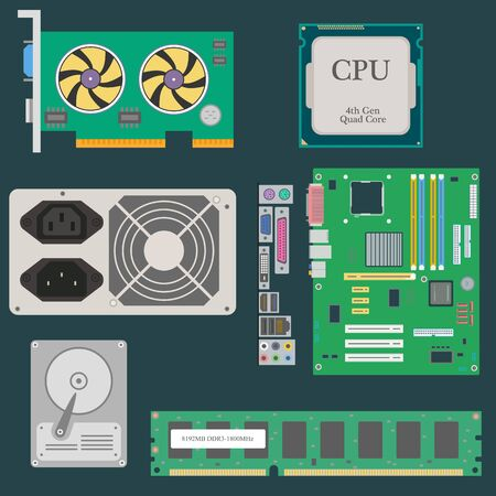 power supply: Parts of Computer. Video Card. CPU. HDD. RAM. Power Supply. Vector illustration