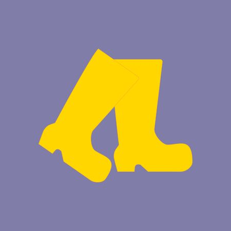 fall protection: Rubber Boots Icon on the purple background. Vector illustration Illustration