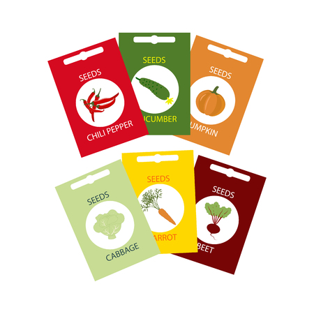 Vegetable Seeds Icon. Carrot. Cabbage. Cucumber. Pumpkin. Beet. Pepper. Vector illustration Illustration