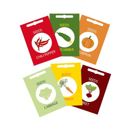 Vegetable Seeds Icon. Wortel. Kool. Komkommer. Pompoen. Bieten. Peper. vector illustratie Stockfoto - 54879080