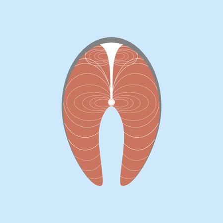 salmon fillet: Salmon Steak Icon. Fish Steak. Vector illustration