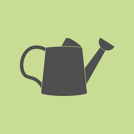 bailer: Watering Can Icon on the green background. Vector illustration