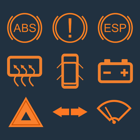 Car dashboard panel indicators. ABS, attention, battery, emergency. Vector illustration