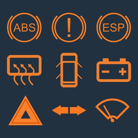indicateurs du panneau de tableau de bord de voiture. ABS, l'attention, la batterie, urgence. Vector illustration