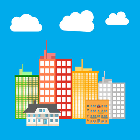 midtown: City, building icon. Skyscrapers. House icon. Vector illustration