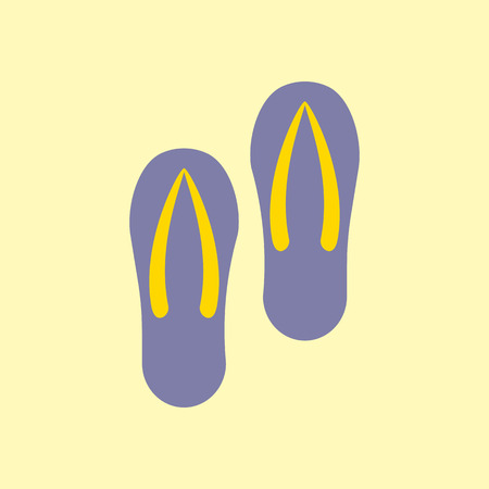 flipflops: Pair of flip-flops isolated on a yellow background. Vector illustration.