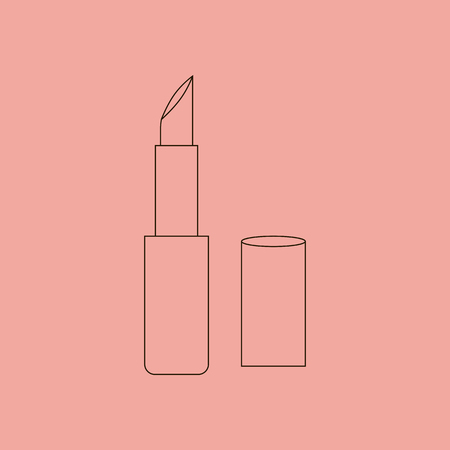 pomade: Lipstick Make Up Icon. Red lipstick. Vector illustration