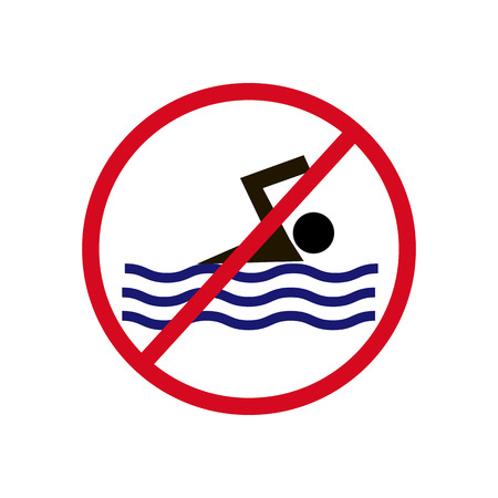 no swimming: No Swimming Sign on a white background. Vector illustration