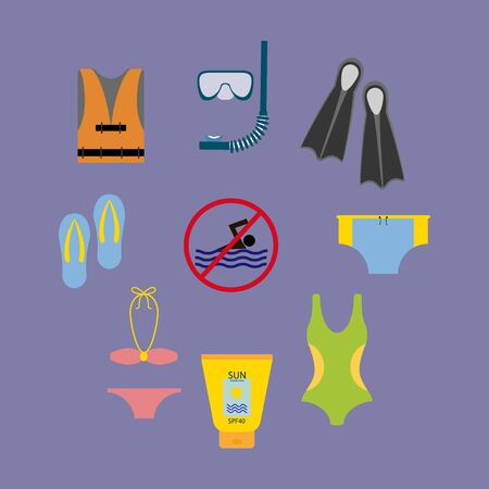 flippers: Vacation Beach Set. Swimsuit. Flip Flops. Flippers. Life Vest. No Swimming. Sun Protection Cream. Vector illustration