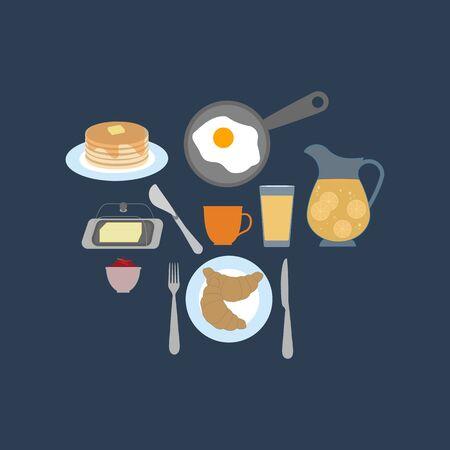 Breakfast vector illustration. Fried egg, butter, pancakes, croissant, orange juice, coffee, jam, tea