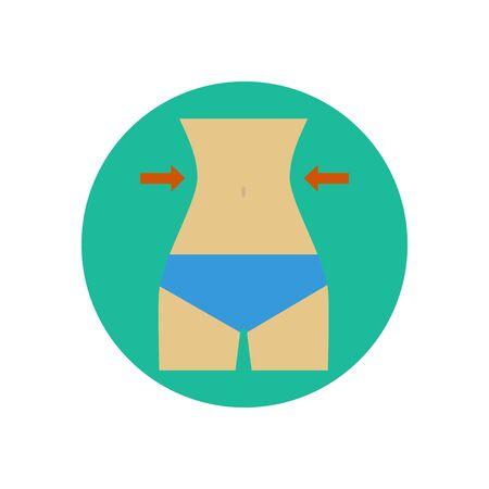 waist: Female figure illustration. Woman waist. Sport body. Vector illustration