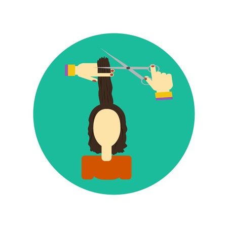 hair cutting: Hair cutting icon. Illustration of a young woman. Cutting hair at the hairdresser