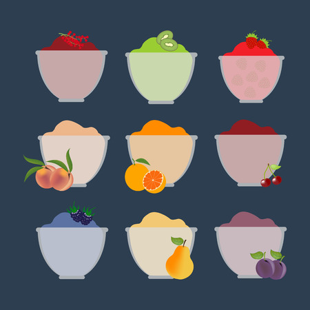 Fruit berry jam. Pear, orange, kiwi, cherry, peach, plum, strawberry. Vector illustration