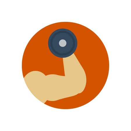 hand with dumbbell: Mans hand with muscles and dumbbell. Vector illustration. Gym equipment. Sport icon. Fitness icon
