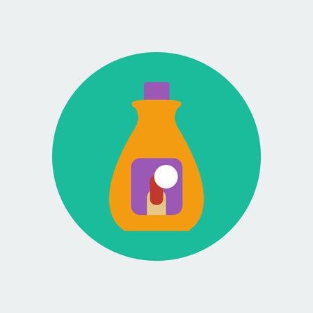 remover: Nail polish remover. Bottle icon. Vector illustration
