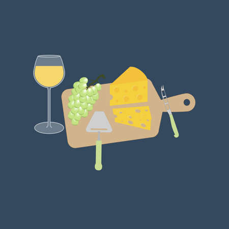 wine and cheese: Wine cheese and grapes on the board. Cheese knife. Vector illustration