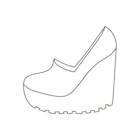 platform: Shoes on platform. High platform shoes. Woman shoes. Vector illustration