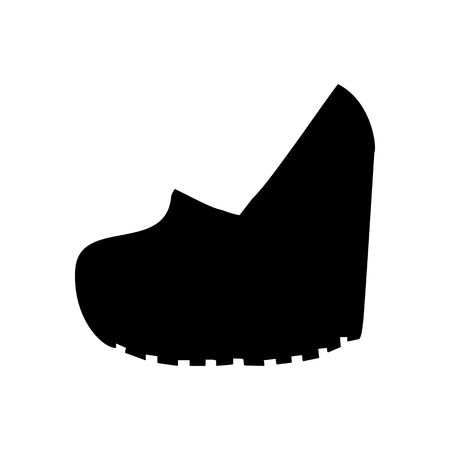 knee boots: Shoes on platform. High platform shoes. Woman shoes. Vector illustration